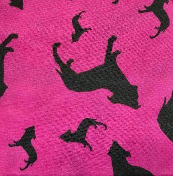 Pink White Staffordshire Bull Terrier Dog Silhouette ZukieStyle Designer Fabric