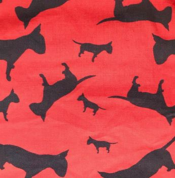 Red Black English Bull Terrier Dog Silhouette ZukieStyle Designer Fabric
