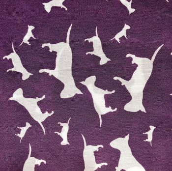 Purple White English Bull Terrier Dog Silhouette ZukieStyle Designer Fabric