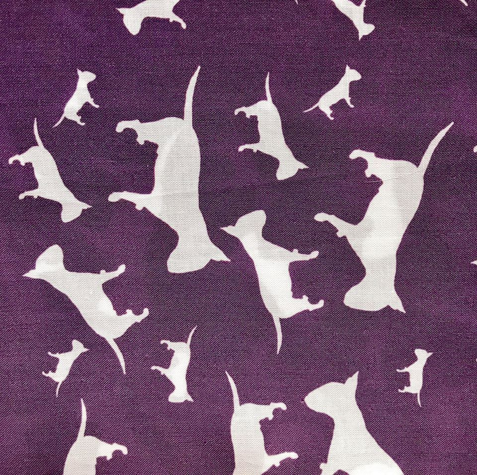 Purple White English Bull Terrier Dog Silhouette ZukieStyle Designer Fabric