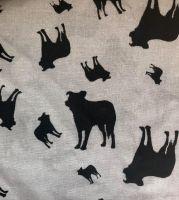 Grey Black Border Collie Dog Silhouette ZukieStyle Designer Fabric
