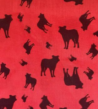 Red Black Border Collie Dog Silhouette ZukieStyle Designer Fabric