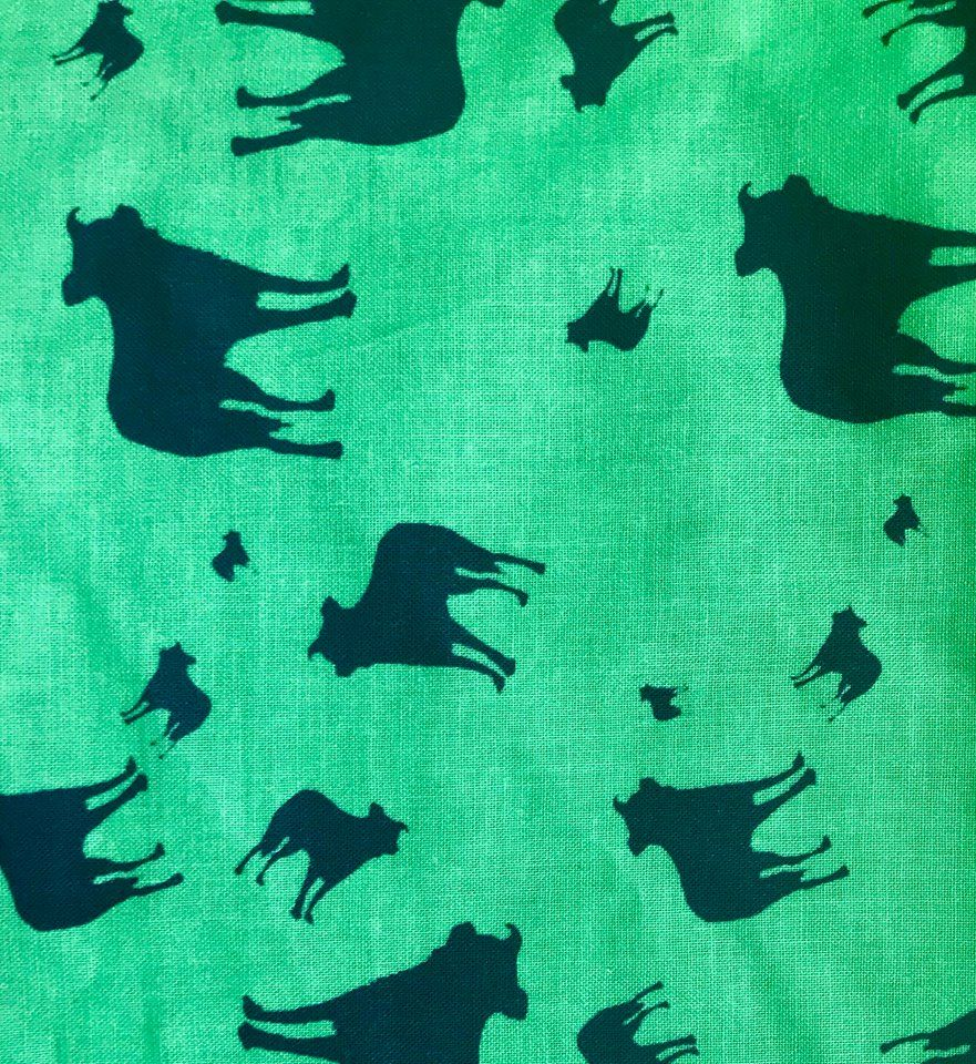 Green Black Border Collie Dog Silhouette ZukieStyle Designer Fabric