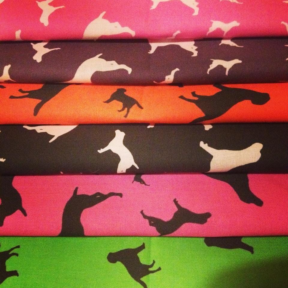Fat Quarter Bundle Of Four Colours Dog Silhouette ZukieStyle Designer Cotto