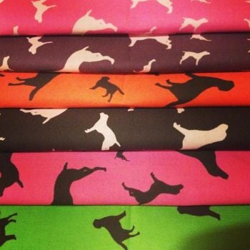 Fat Quarter Bundle Of Two Colours Dog Silhouette ZukieStyle Designer Cotton Fabric