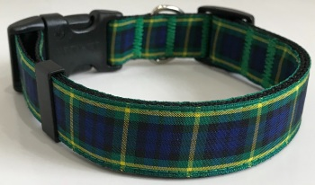 Gordon Tartan Plaid Dog Collar Yellow Green Blue