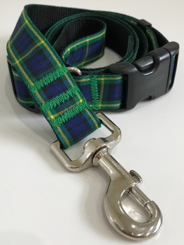 Gordon Tartan Plaid Dog Collar And Lead Set Yellow Green Blue