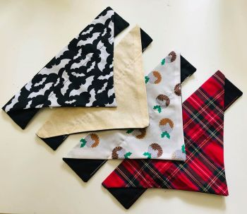 Set Of Four Holiday Themed Dog And Cat Bandanas