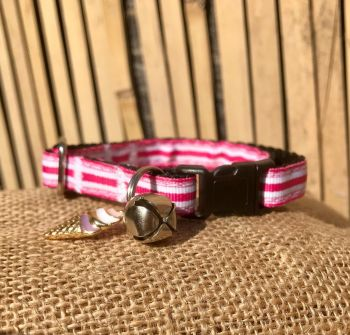 Rock Pink And White Stripe Fun At The Fair Adjustable Cat Collar Fuchsia
