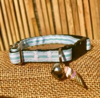Mint Green Fun At The Fair Striped Adjustable Cat Collar
