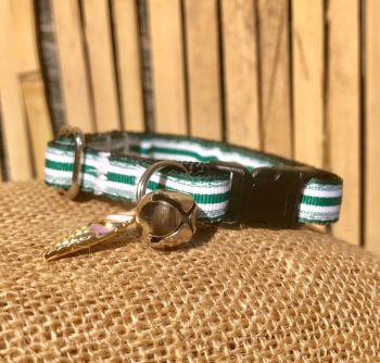 Crazy Golf Stripe Green And White Fun At The Fair Adjustable Cat Collar