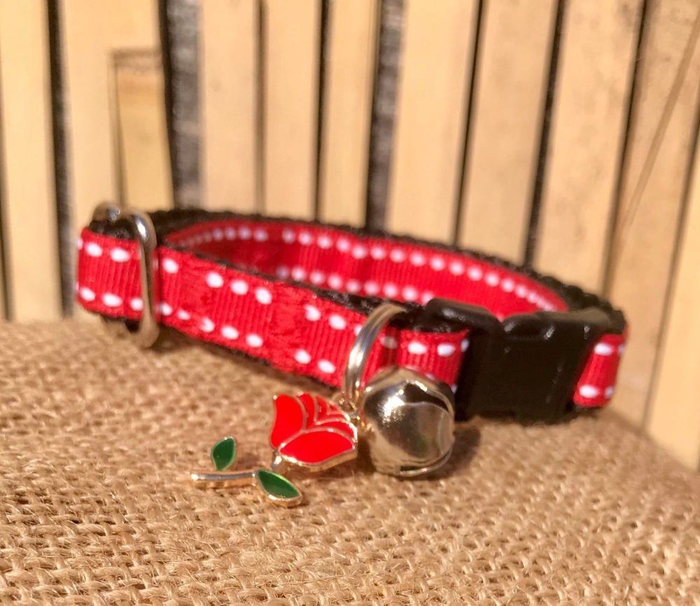 Red English Rose Saddle Stitch Adjustable Cat Collar England St George