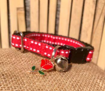 Red English Rose Saddle Stitch Adjustable Cat Collar England St George