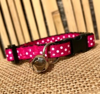 Bright pink polka dot cat collar