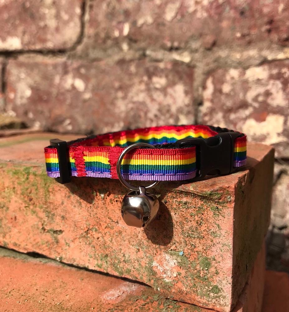 Rainbow pride LGBT adjustable cat collar