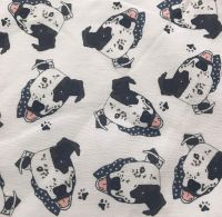 Arthur White Crossbreed Staffy Staffordshire Bull Terrier Pittie Pitbull Dog Cartoon Character ZukieStyle Designer Fabric Fat Quarter Metre Quilting S