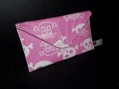 Funny bones pink skull envelope purse/mobile phone case
