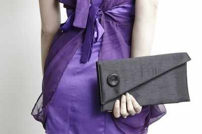 Oversized Skew Button Prom Clutch - Black