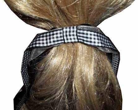 black-gingham hair tie