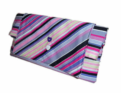 Candy stripe clutch bag