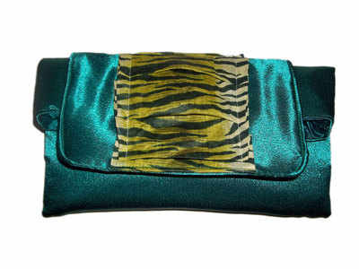 Emerald tiger satin clutch bag