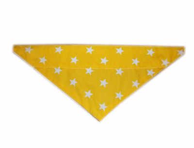 Yellow and white star print dog bandana