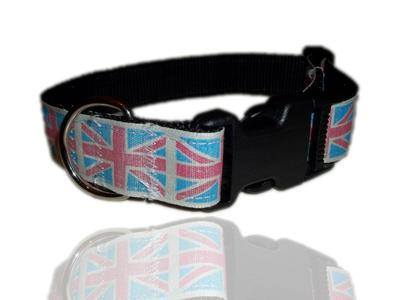 Light blue vintage Union Jack dog collar