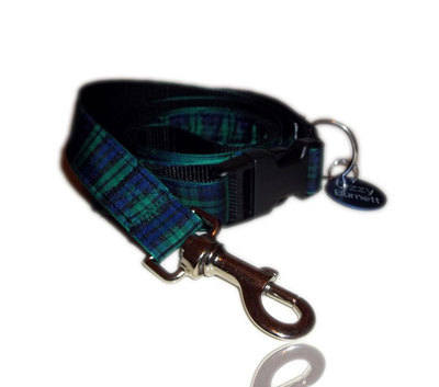 Green & Blue Black Watch Tartan Dog Collar Lead Set