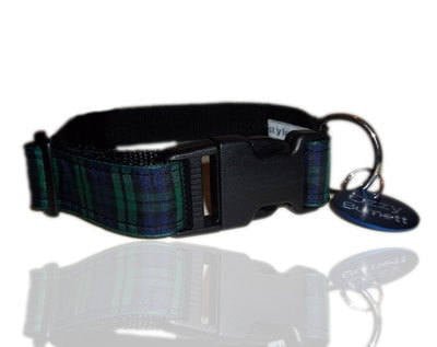 Green & Blue Black Watch Tartan Dog Collar