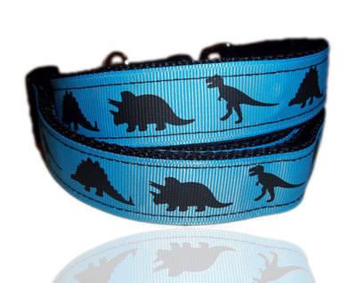 Blue Dinosaur Themed Dog Collar