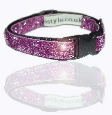 munchkin purple pink glitter ribbon dog collar