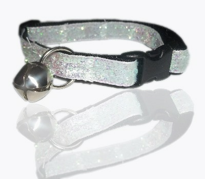 toto white glitter ribbon cat collar