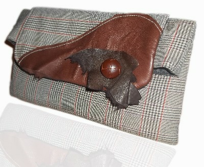 Tweed And Leather Country Chic Foldover Clutch