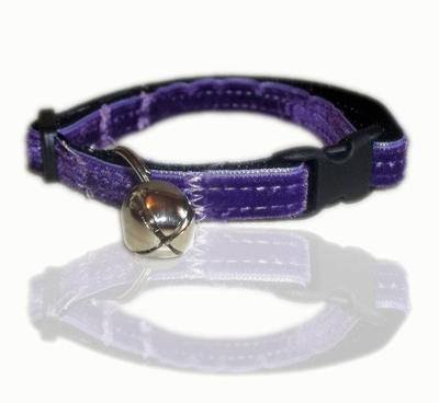 purple maid velvet ribbon cat collar