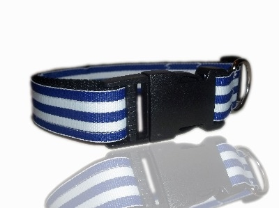 Nautical Sailor Blue And White Stripe Dog Collar