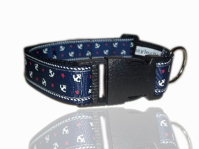 Blue Nautical Anchor Sailor Dog Collar