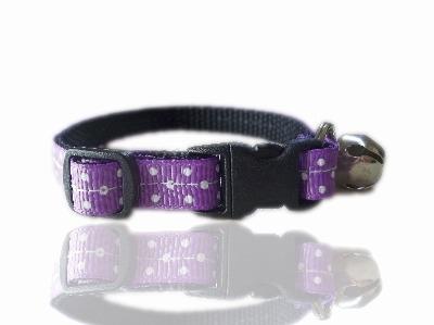 Purple polka dot cat collar