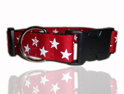 Red And White Super Star Dog Collar