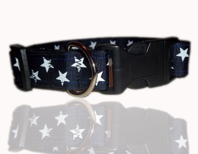 Navy Blue And White Super Star Dog Collar