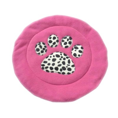 Pink Dalmation Print Fleece Cat And Small Dog Bed Mat