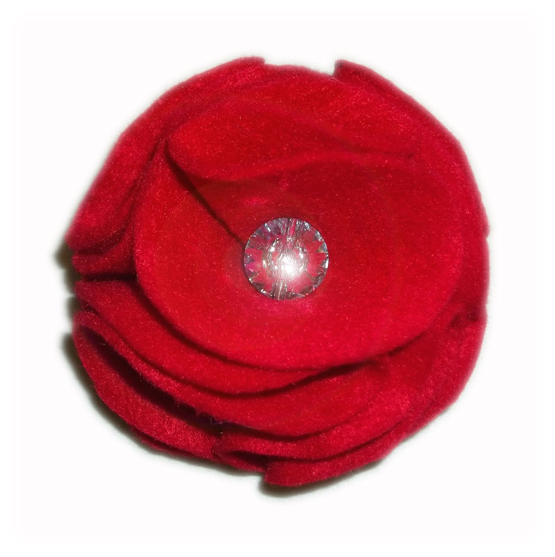 Red Swarovski Dog Collar Flower B