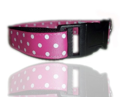 Pink And White Polka Dot Dog Collar