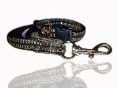Blue Aztec Jewel Small Dog Puppy Collar And Lead Set