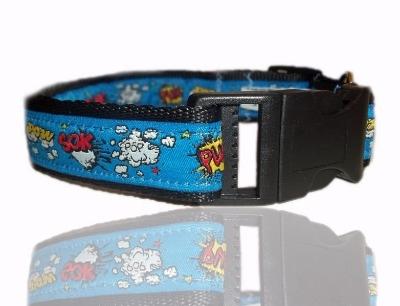 Comic Pow Blue Superhero Dog Collar