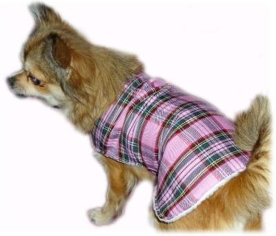 Pink Tartan Wool Walking Dog Coat