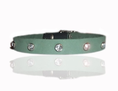 Moss Green Genuine Suede Swarovski Style Cat Collar
