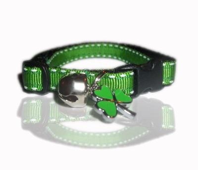 Irish Green Shamrock Saddle Stitch Cat Collar With Charm