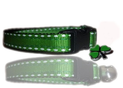 Irish Green Shamrock Saddle Stitch Small Dog Puppy Collar