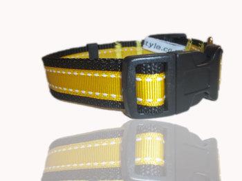 Daffodil Yellow Saddlestitch Dog Collar