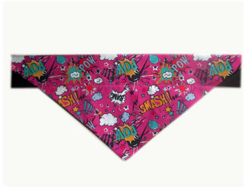 Pink Comic Pow Slogan Dog Bandana